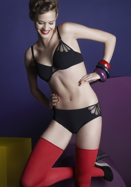 Equivoque, black lingerie, red stockings