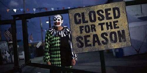 Menacing clown in Jay Woelfel's 'Closed for the Season'