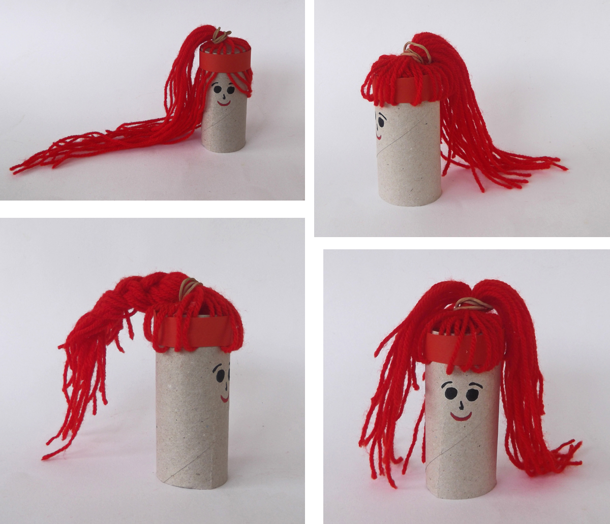crafts, hait, knitting yarn, toilet paper roll, paper puppets, paper dolls, doll, puppet, kids crafts
