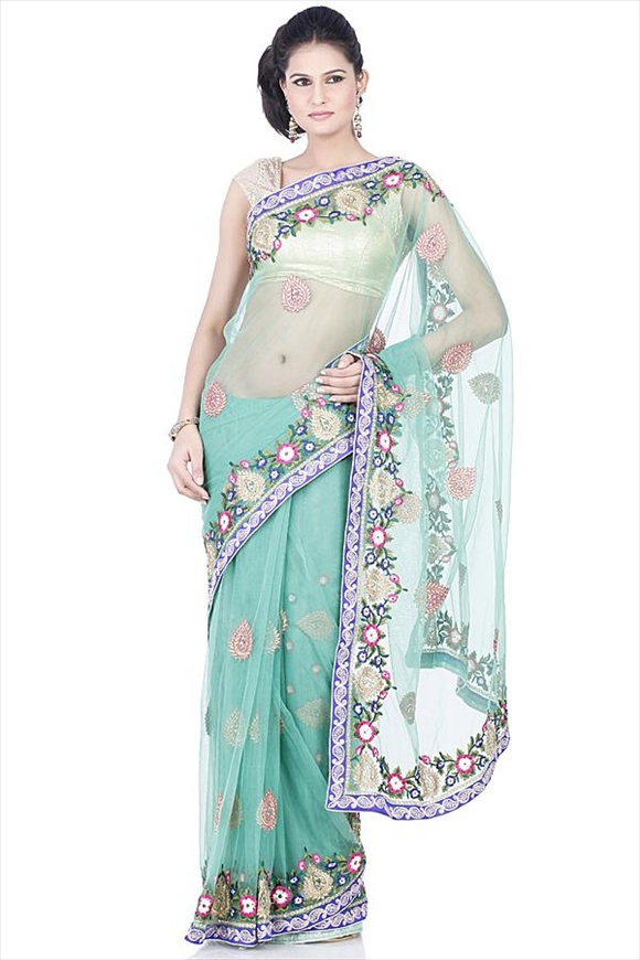 Vibrant Green Net Saree