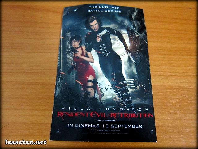 Resident Evil Retribution screening ticket