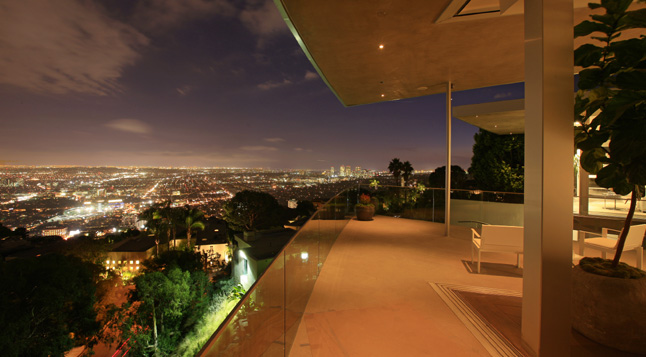 Photo of Los Angeles at night as seen from the terrace