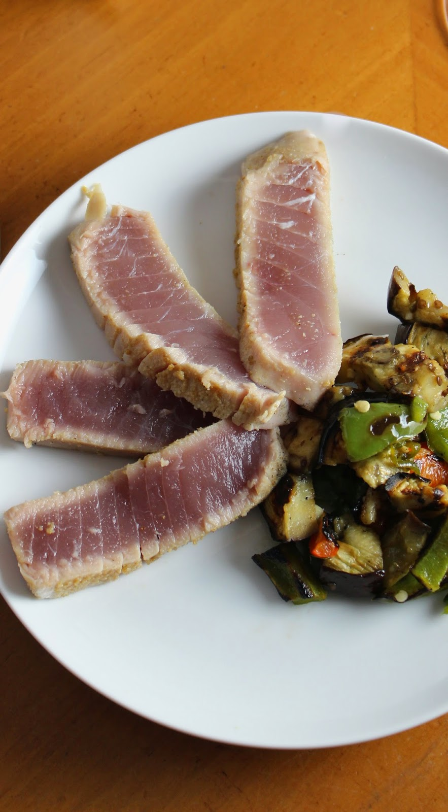 Grilled Tuna with Eggplant and Peppers. Cooking Chat recipe.