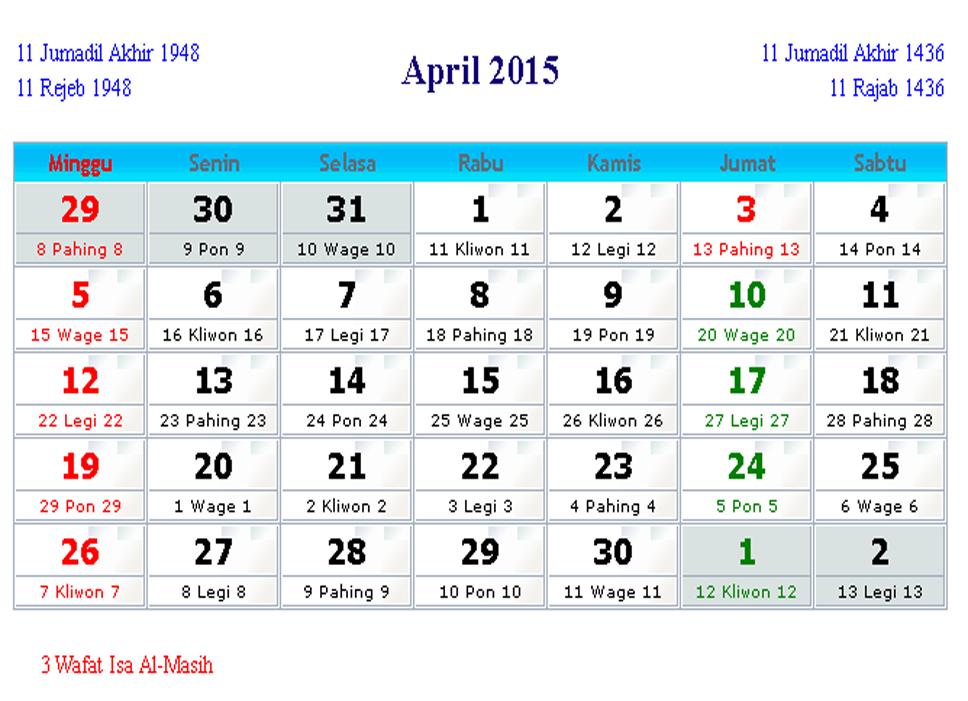 Kalender Bulan April : Kalender indonesia april