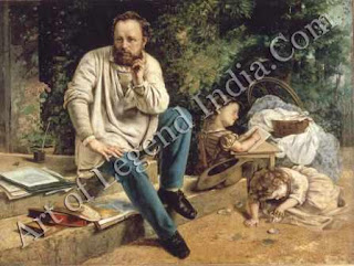 Proudhon remembered, Courbet could never persuade Proudhon to sit for his portrait, so he painted this 'historical portrait' in 1865, after his friend's death. Proudhon is shown as he was in 1853, sitting on the steps of his Paris home, with two of his children playing.