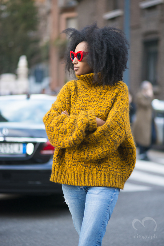 Senior Fashion Editor of i-D Julia Sarr Jamois at Milan Fashion Week 2015-2016 Fall Winter MFW