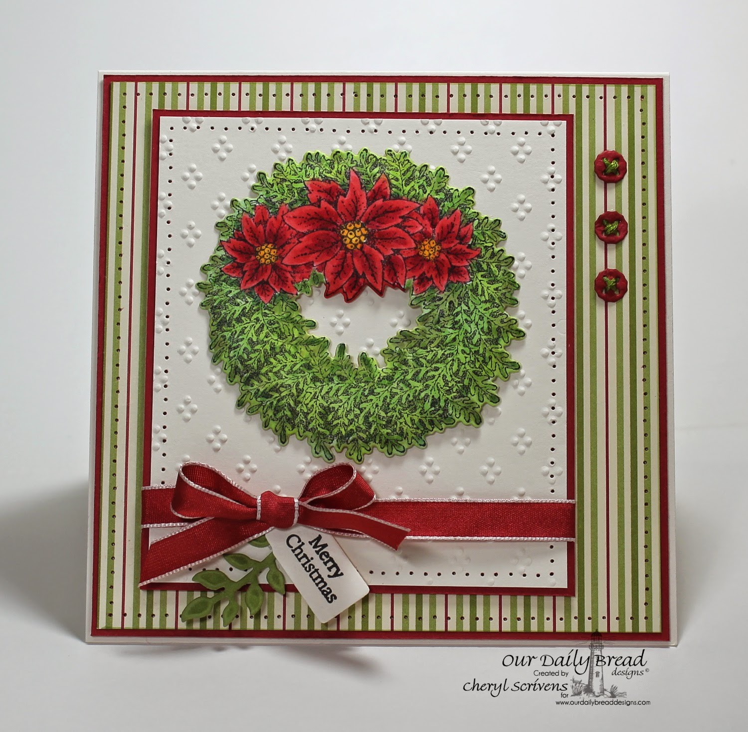 Our Daily Bread Designs, ODBDSLC218, Poinsettia Wreath, Poinsettia Wreath dies, Mini Tag Sentiments, Mini Tags dies, Fancy Foliage dies, Doily dies, CherylQuilts, Designed by Cheryl Scrivens