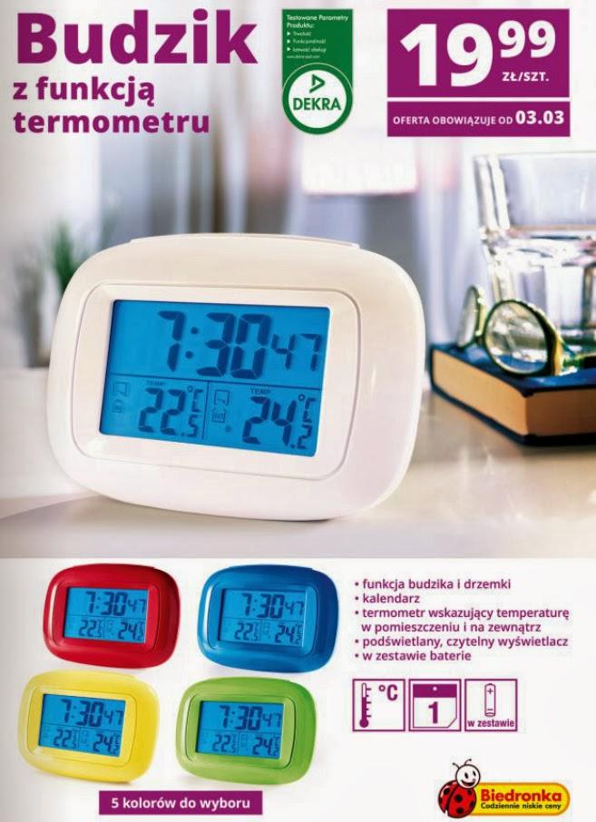 Budzik z funkcją termometru z Biedronki ulotka