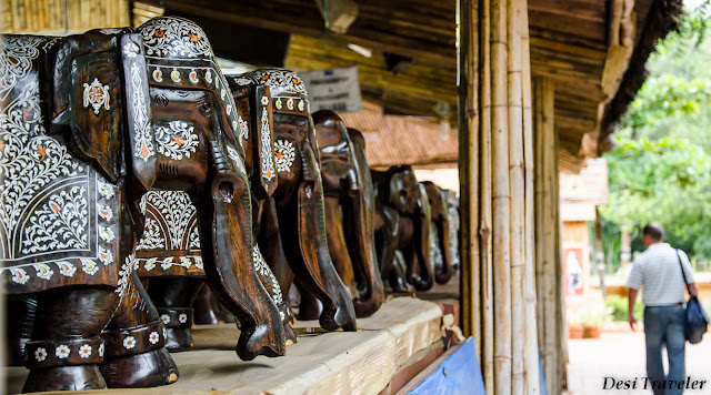 wooden elephants for sale at shilparamam crafts bazaar