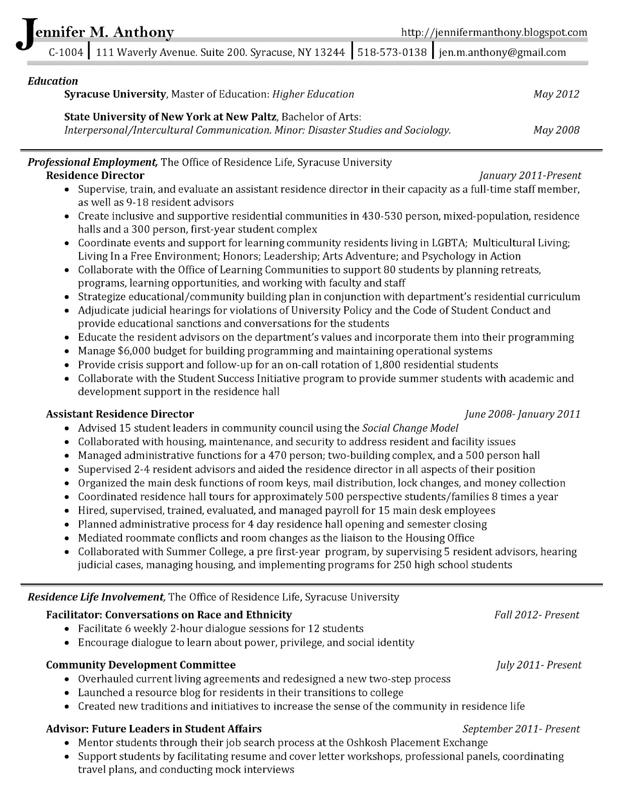 Jennifer anthony resume