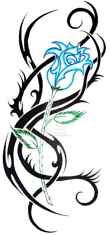 Tattoo In Gallery: tribal blue rose tattoos