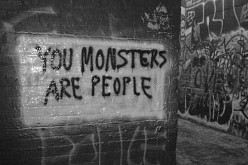 you monsters are people grafitti