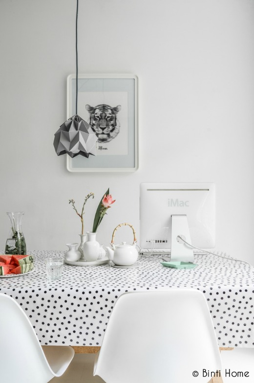 black polka dot oilcloth