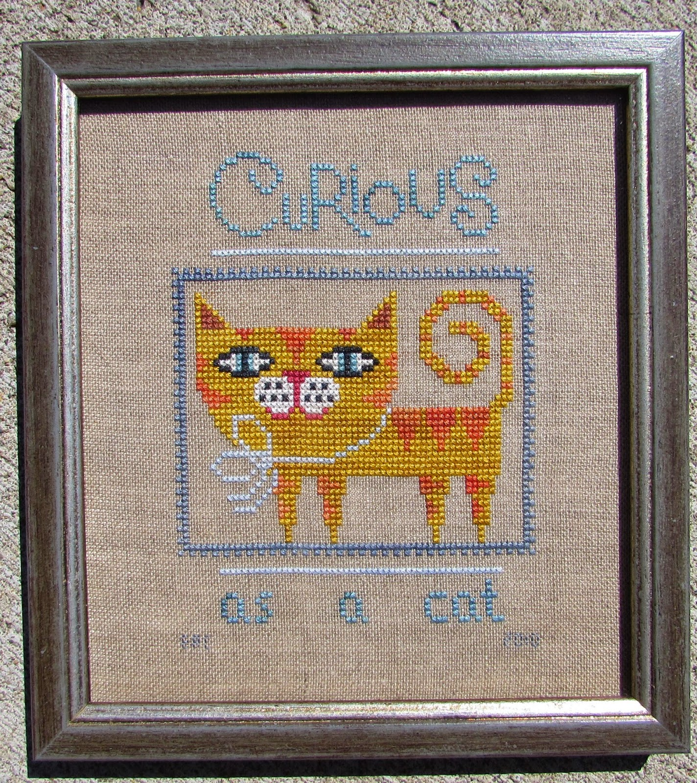 Its friday cat pictures it s friday so it s time for - It S Fitting Given My Cat Stitching Theme This Month That I Share My Birds Of A Feather Curious As A Cat Framed Finish The Frame Is Very Simple With