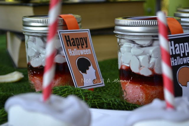 zombie party treat table Brains In A Jar