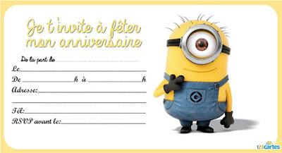 carte d'invitation anniversaire gratuite Minion Stuart