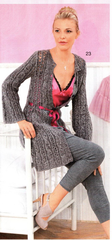 Ажурное вязание спицами пальто
