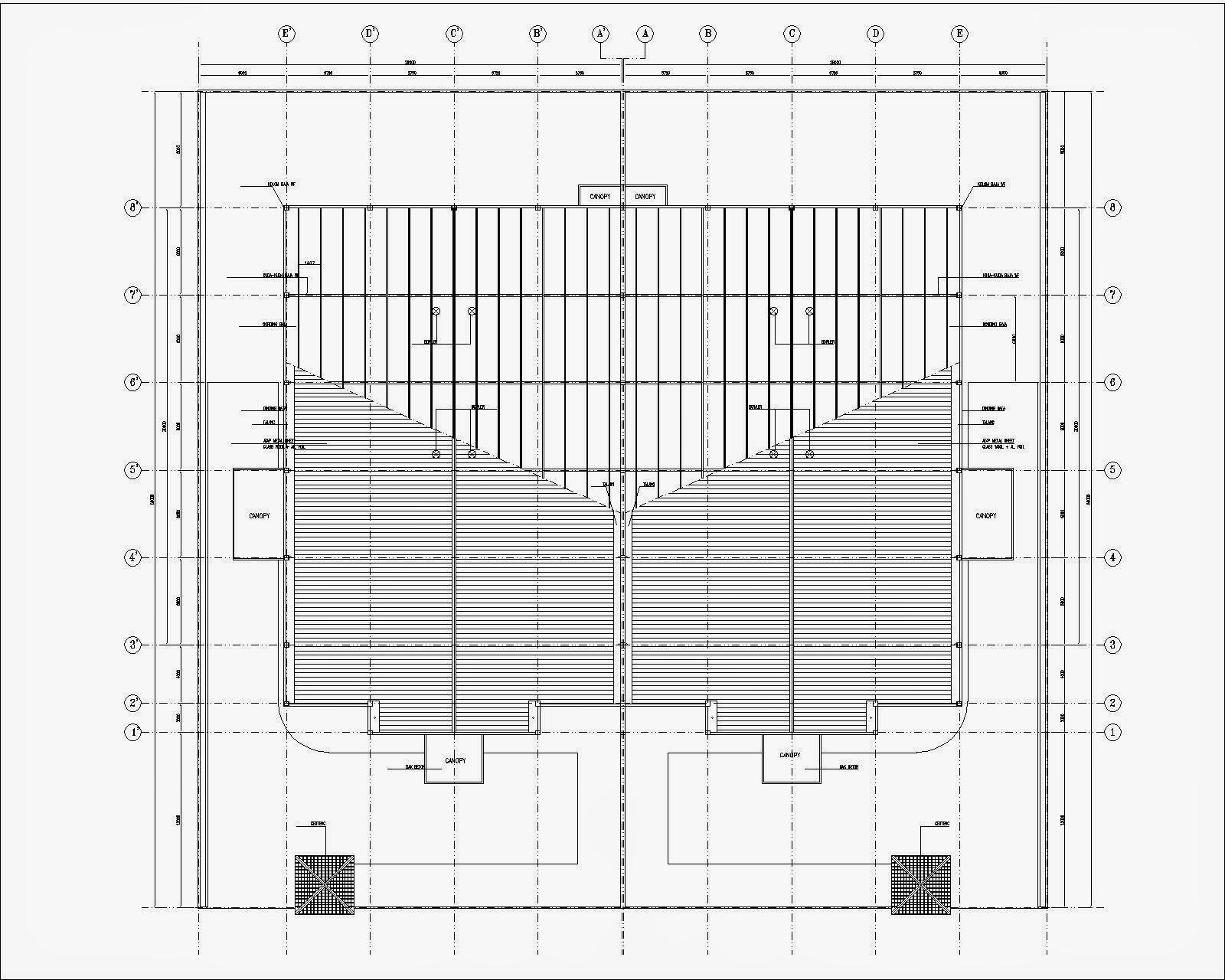 rencana  atap pabrik dwg