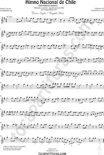 Himno Nacional de Chile Partitura de Trompa y Corno Francés en Mi bemol Sheet Music for English Horn Music Scores