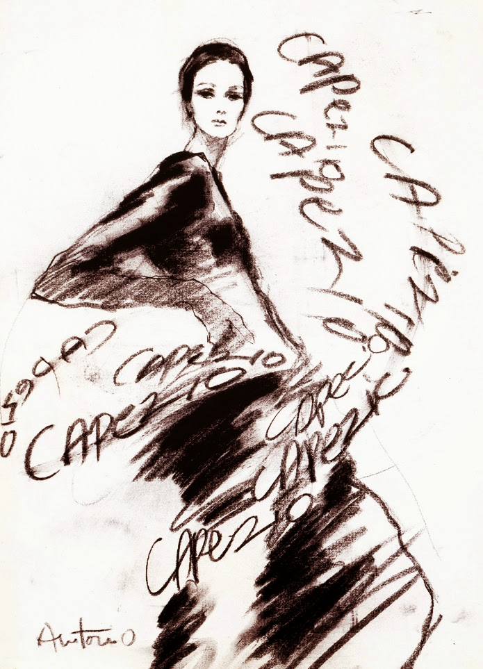 fashion sketch illustration in black and white by Antonio Lopez