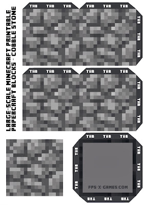 Large Scale Minecraft printable cobble block