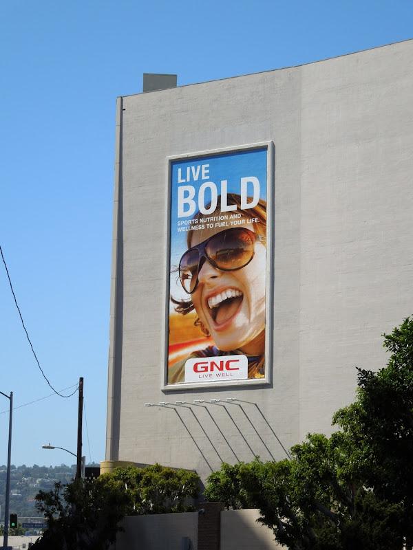 Live Bold GNC sunglasses billboard