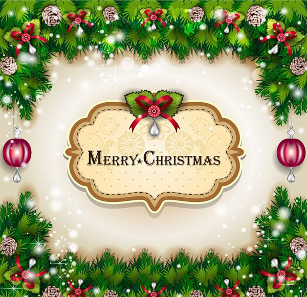Merry Christmas card vector material posters