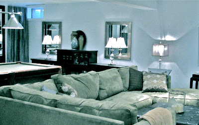 finished basement, blue, green, wall fireplace, pool table, media room, decorating, design, interior design, interior decorating