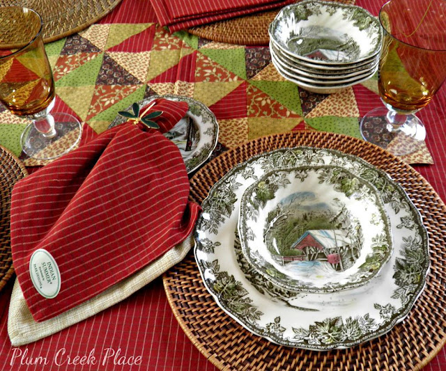 Park Design Indian Summer table linens and The Friendly Village plates