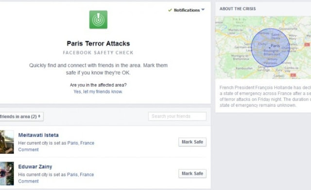 apakah maksudnya paris terror attacks safety check di facebook notification,
