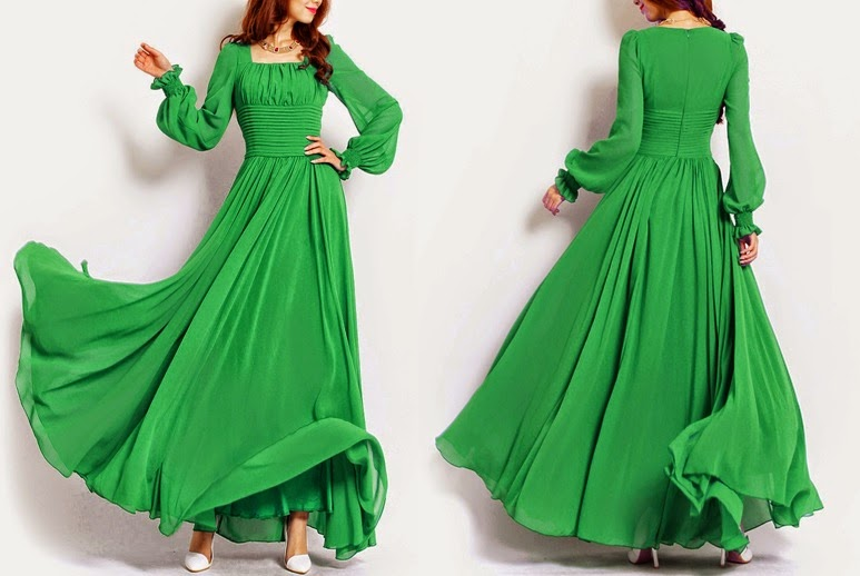 Turf Green Fairy Tale Princess Big Flounce Puff Long Sleeve Chiffon Maxi