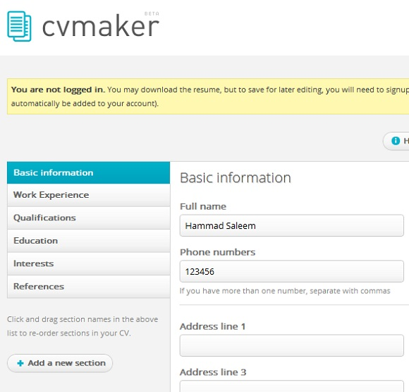 Technology World: CV Maker: Create A Free Professional Resume In A Few ...