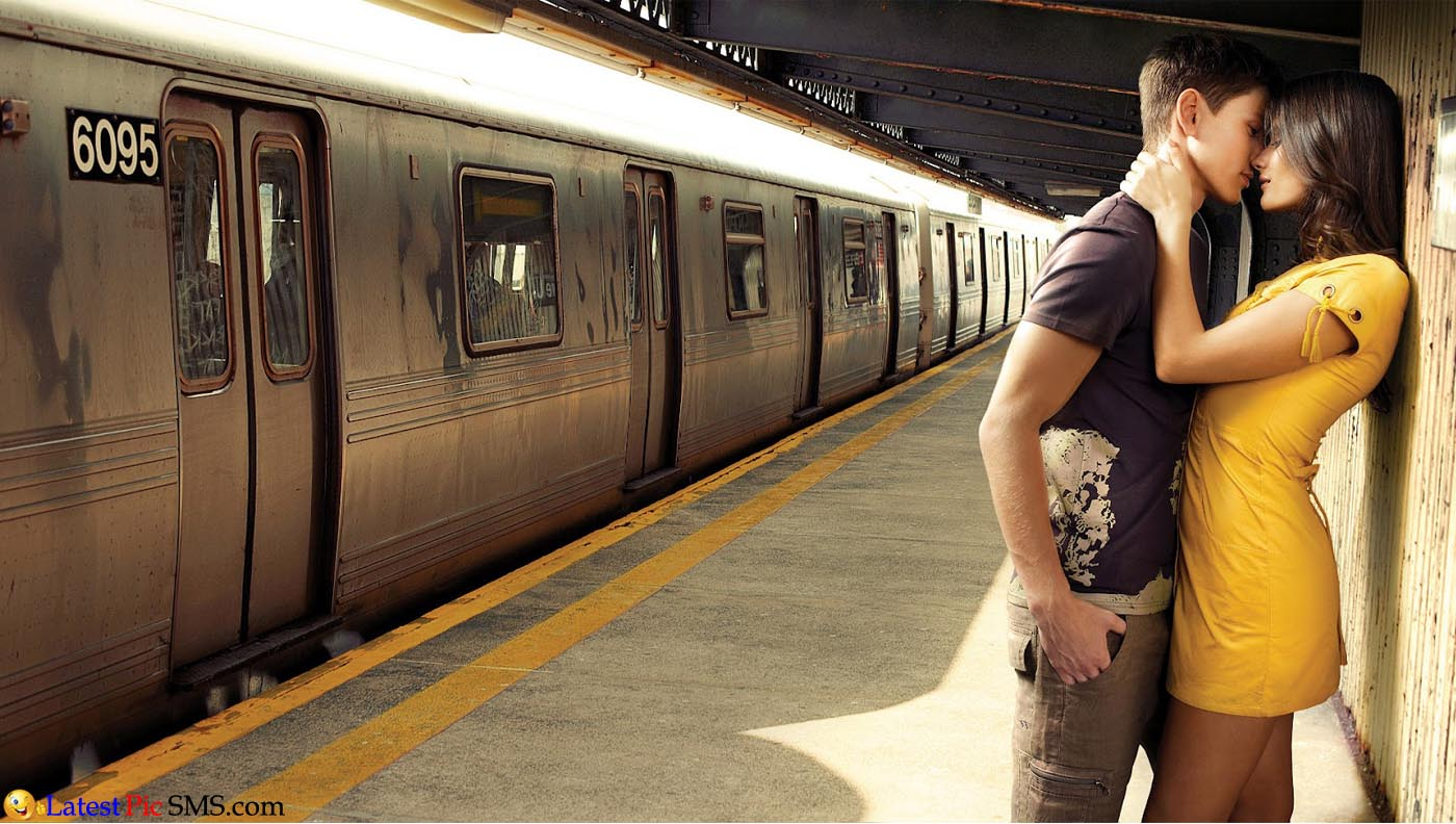 Romantic Couple kiss in Train