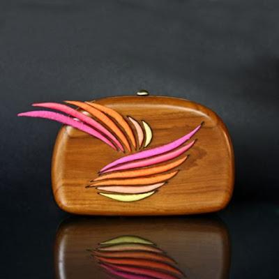 wooden clutch, wooden bag