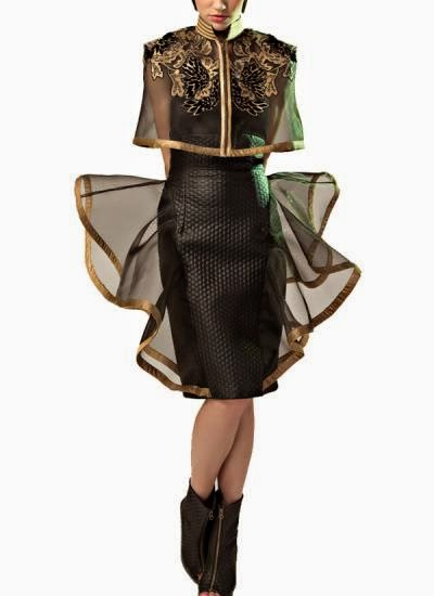 BLACK MESH CAPE AND QUILTED SKIRT | Indian Designers | Indian Designer Dess