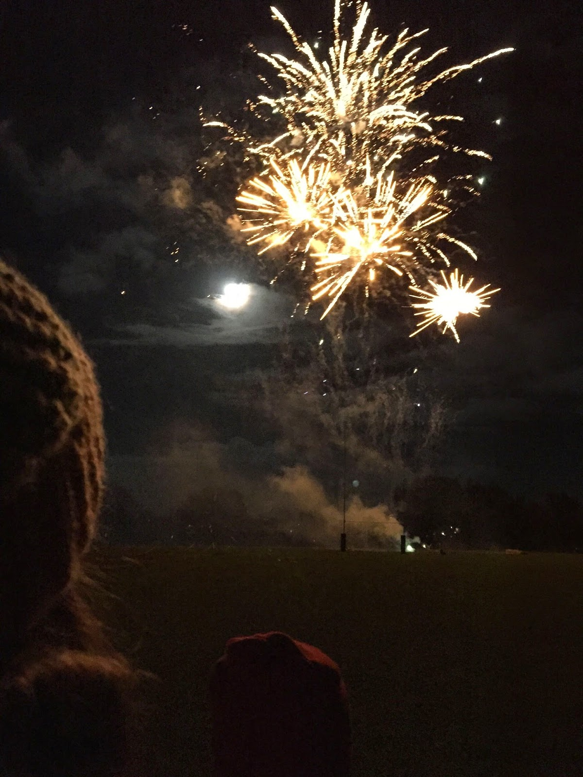 Fireworks, bonfire night, full moon