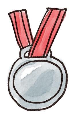 銀メダルのイラスト(スポーツ)