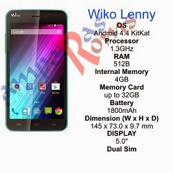 Wiko Lenny specs and stock rom download