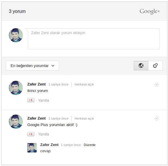 Blogger İçin Google Plus Yorum Formu