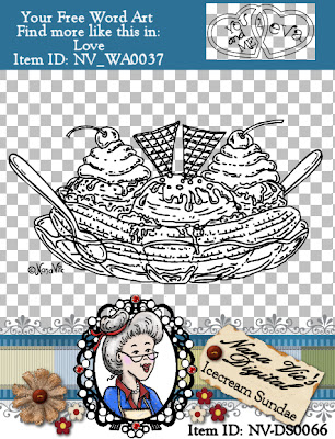 Ice Cream Sundae Digital Stamp