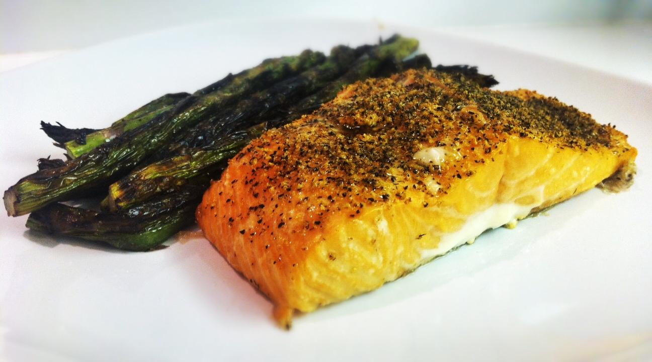 Cedar Plank Grilled Salmon with Asparagus | savory