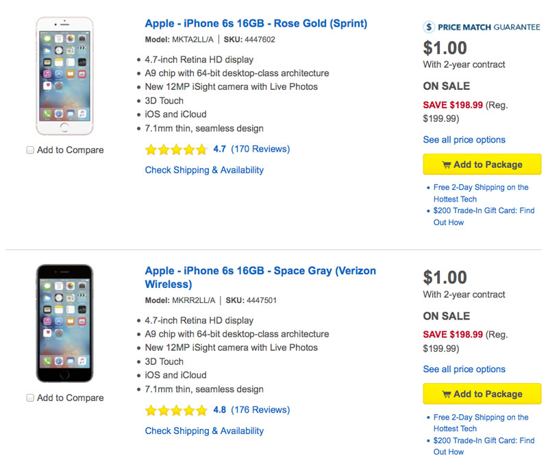 Best Buy has reduced the price of the iPhone 6s to 1 US dollar ...