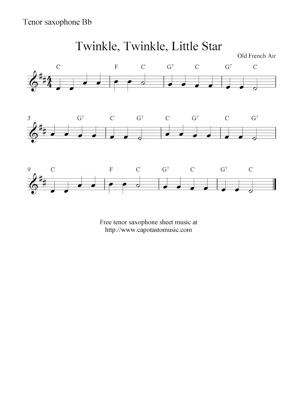 Twinkle Twinkle Sheet Music Ibovnathandedecker