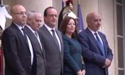François Hollande reçoit à l'Elysée les représentants du Quartet tunisien, lauréat du prix Nobel de la paix 2015