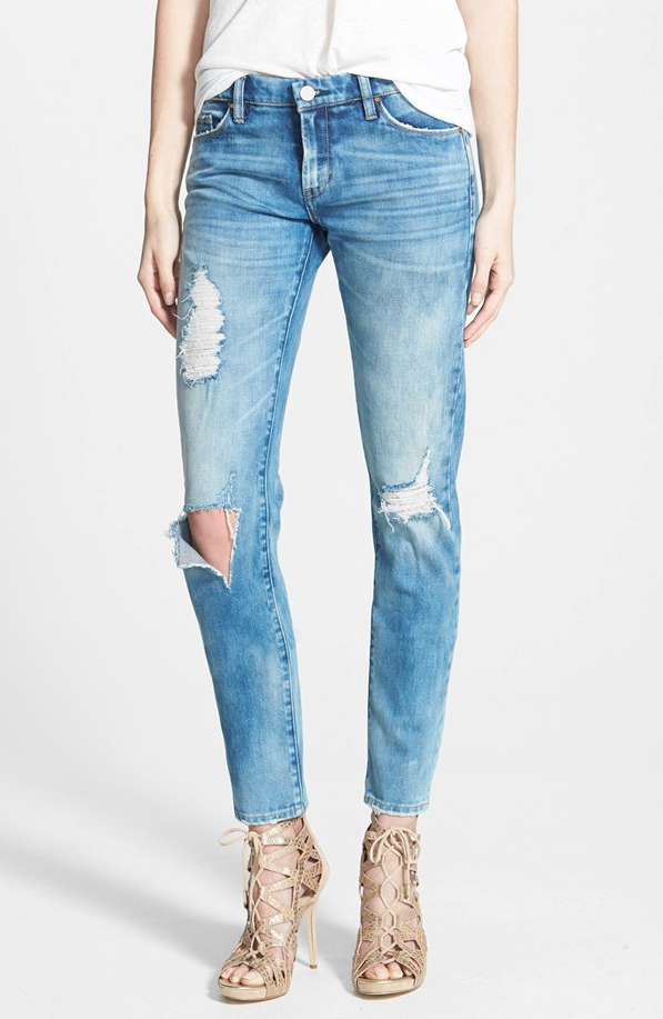 BLANKNYC distressed skinny jeans have been restocked in all sizes, but hurry before they sell out again! And you might want to size down because they run a little big.