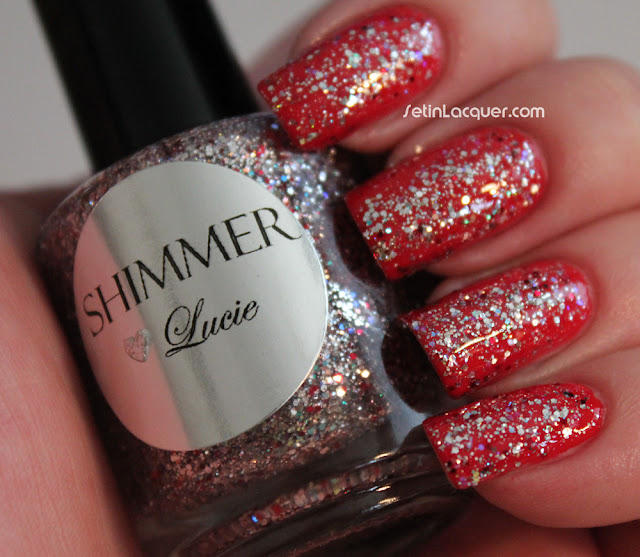 Shimmer Polish Lucie over Sation Peppermint Pedi