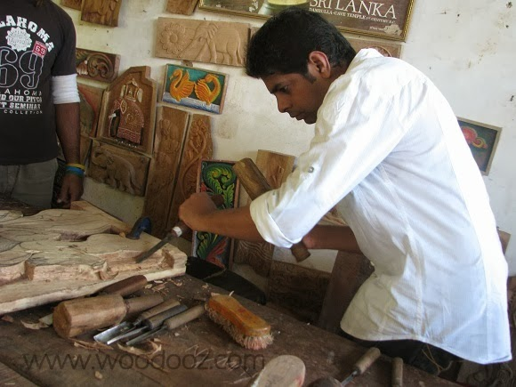 Somu with wood carving tools