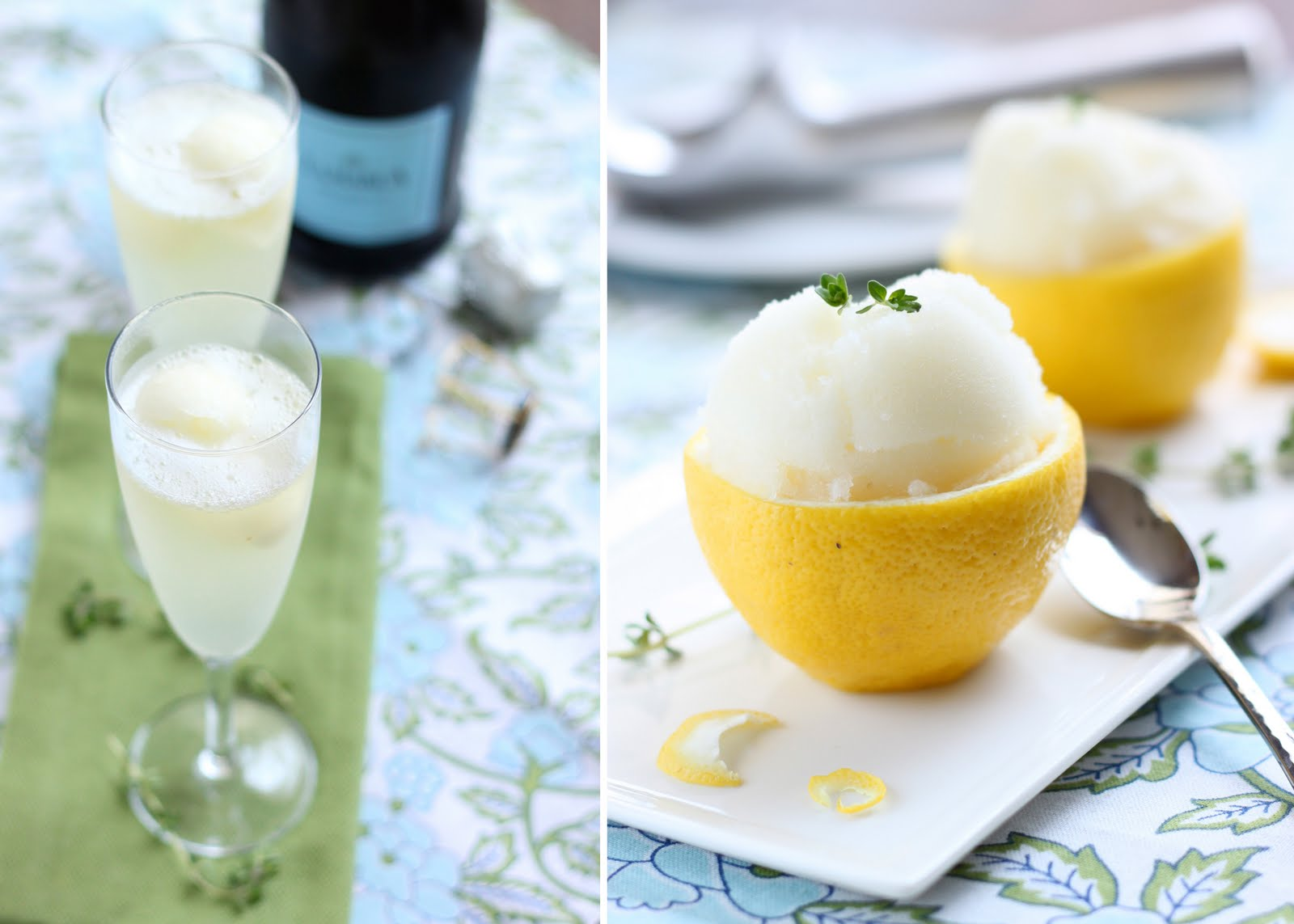 The Cilantropist: Sparkling Wine with Lemon Thyme Sorbet