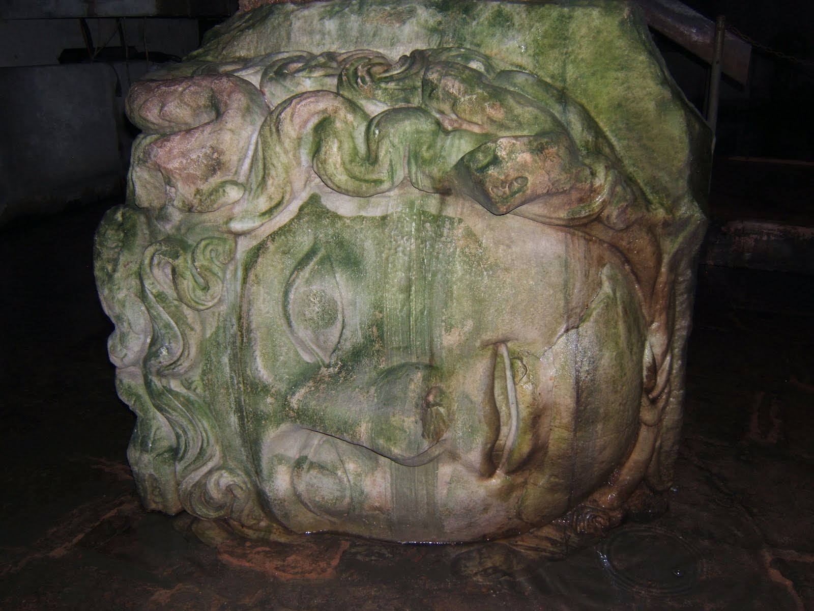Medusa Head.  Roman cistern underground. Istanbul, Turkey