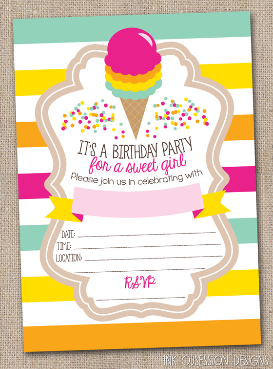 Ink Obsession Designs New Ice Cream Invites Pineapple Invites – Ice Cream Birthday Party Invitations